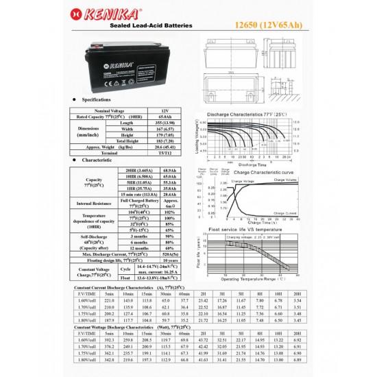 Kenika Battery 12650 - 12V 65AH